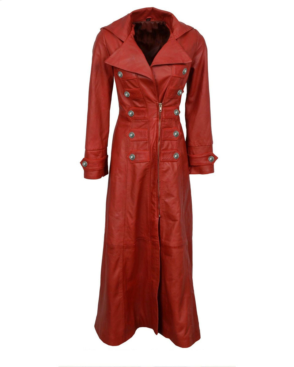 43cd2c30322 ... JacketsLadies Red Leather Steampunk Style Trench Coat – T11 – RED. prev