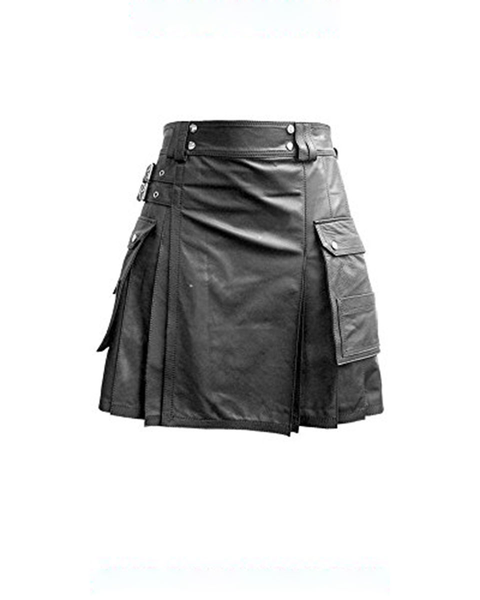 Mens Real Black Leather Gladiator Pleated Kilt LARP With Choice of Length