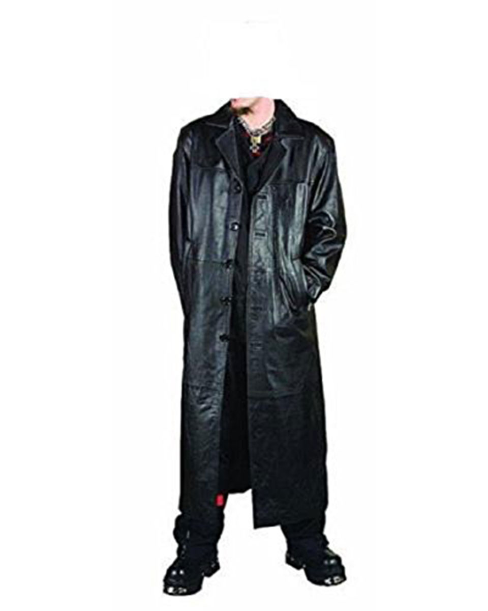 1a585ac36 Leather Full Length Trench Coat - T1- BLK