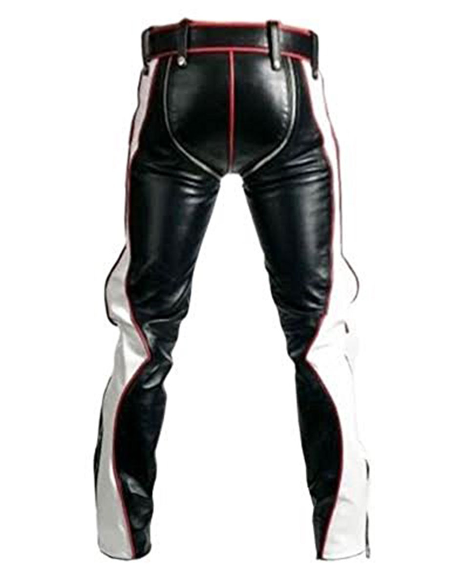 Real Black Red And White Leather Heavy Duty Bondage Jeans
