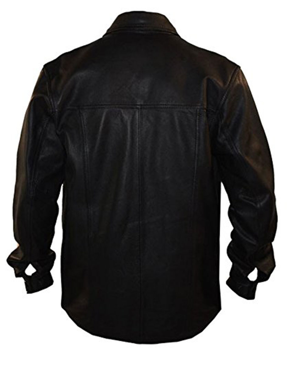 Black leather police style full sleeves shirt psfull for Mens shirts with leather