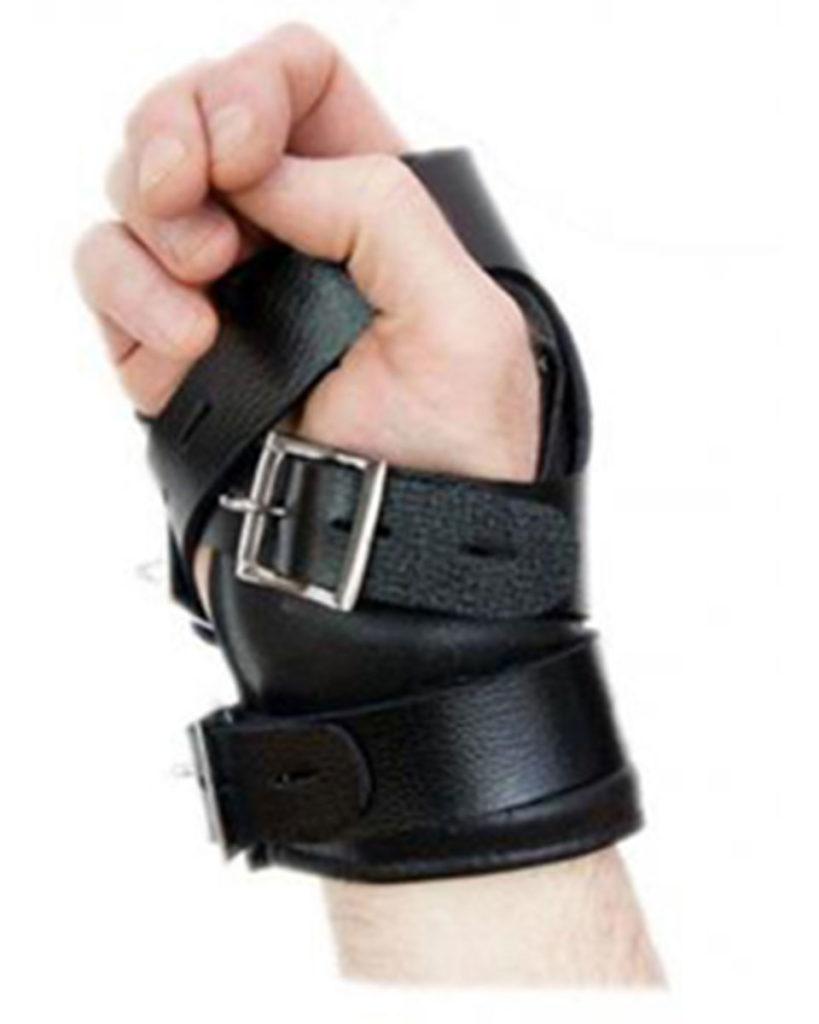 Leather Suspension Hand Wrist Cuffs with Locking Buckles