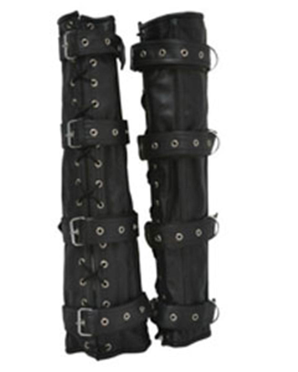Set Of 4 Black Leather Bondage Arm & Leg Binders