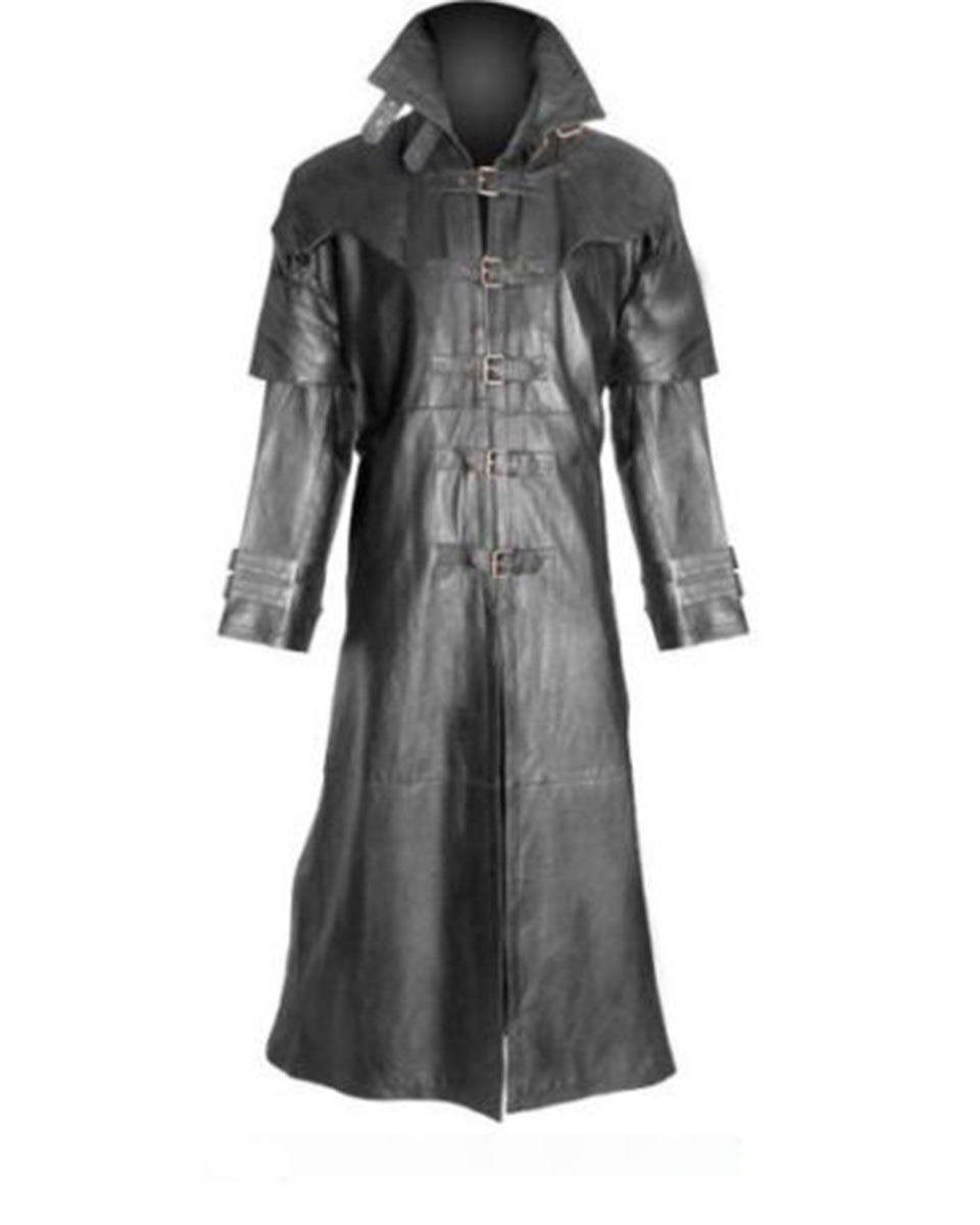 Black Leather Trench Coat Steampunk – T5 – BLK
