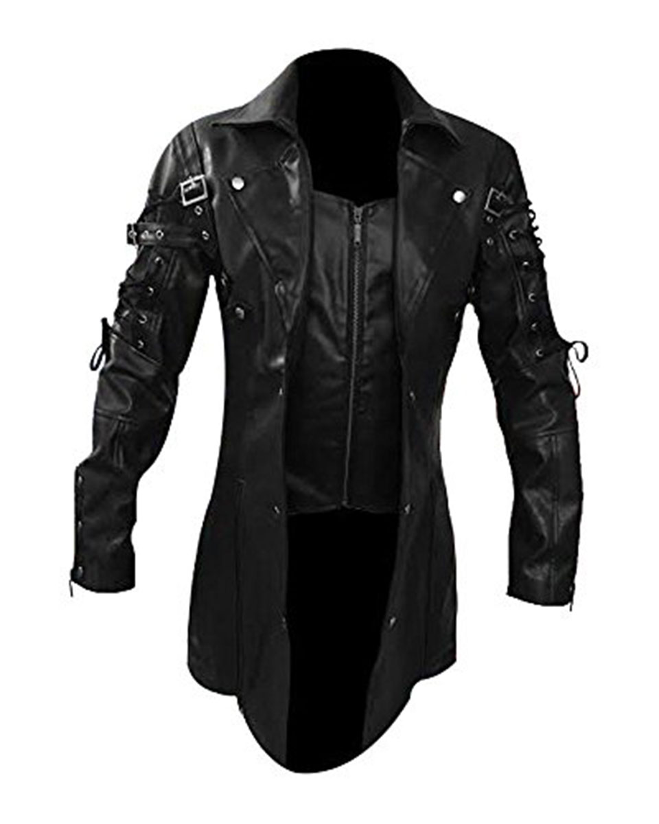 Mens Real Black Leather Goth Matrix Trench Coat Steampunk ...