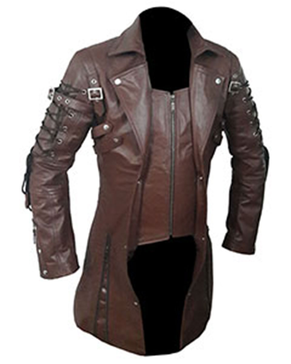 5c63421211 Mens Real Brown Leather Goth Matrix Trench Coat Steampunk Gothic ...