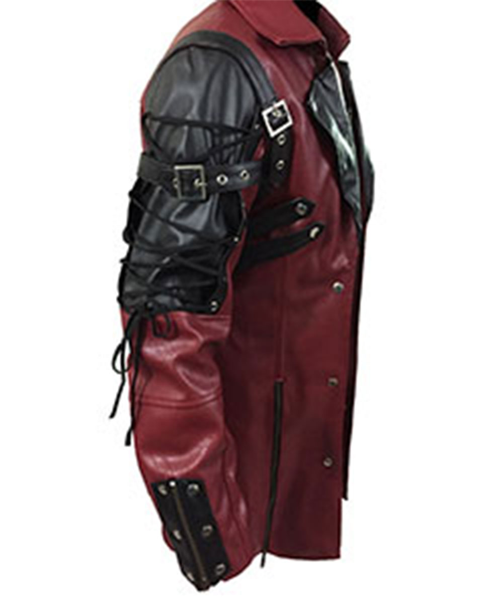 be9306c3fca Mens Real Red Black Leather Goth Matrix Trench Coat Steampunk Gothic ...