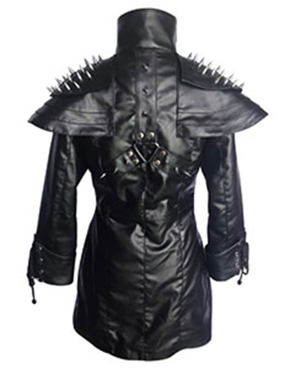 Ladies Steampunk Goth Coat Black SHEEP Leather Gothic Heavy Duty Jacket