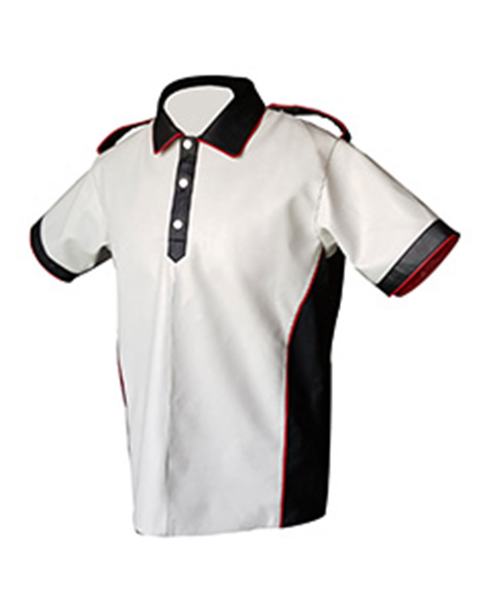 Very sexy mens real black white red leather polo shirt for Mens white leather shirt