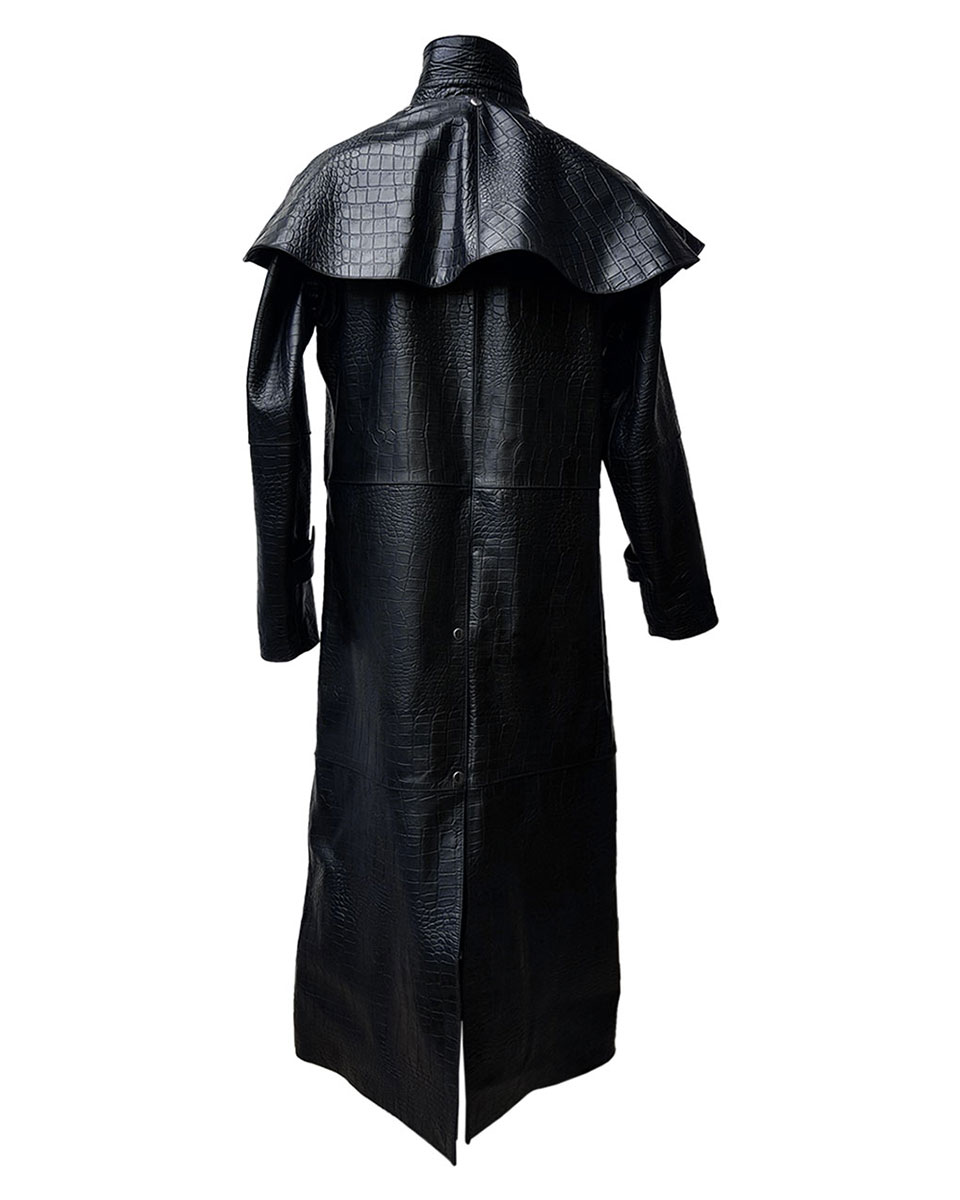 Mens Real Black Aligator Crocodile Leather Duster Riding Hunting ... bca197651d16