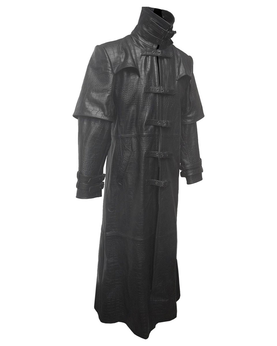 Mens Real Black and Red Leather Goth Matrix Trench Coat Steampunk Gothic T18 3X-Large, Black and Red
