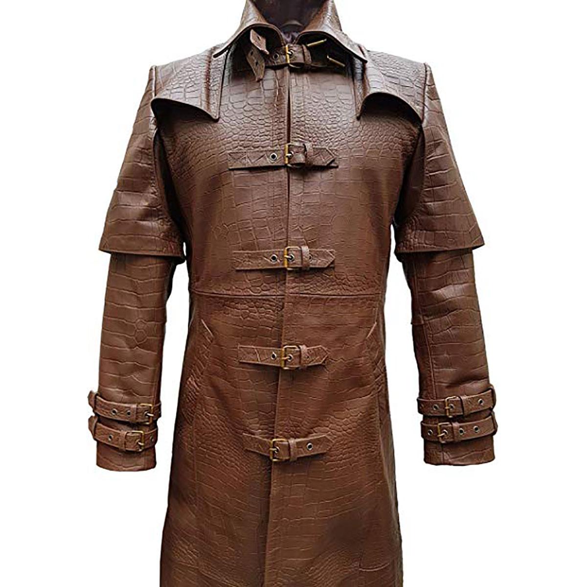 Mens Real Black Cow /& Nubuck Leather Coat Matrix Trench Steampunk Van Helsing