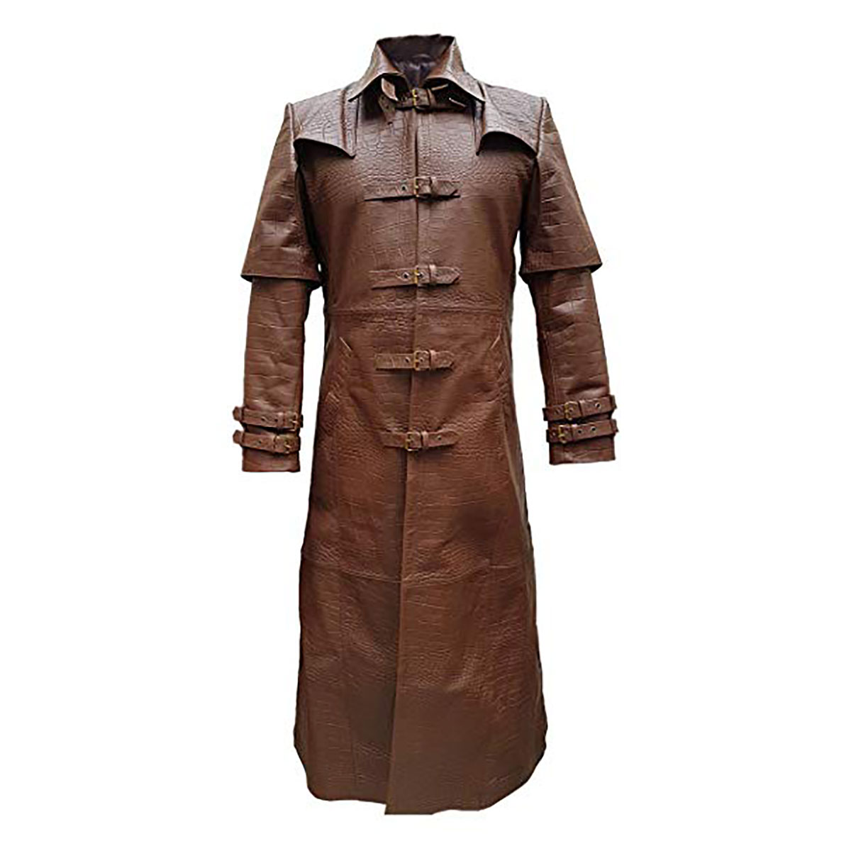 arriving discount coupon buy sale Mens Brown Alligator/Crocodile Leather Goth Matrix Trench Coat Steampunk  Gothic Van Helsing-T5